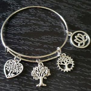 Silver adjustable charm bracelet